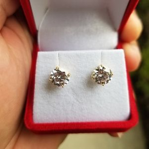 Sterling Silver Gold Plated Round CZ Stud earrings
